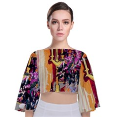 Still Life With Lamps And Flowers Tie Back Butterfly Sleeve Chiffon Top