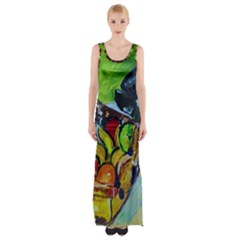 Still Life With A Pigy Bank Maxi Thigh Split Dress