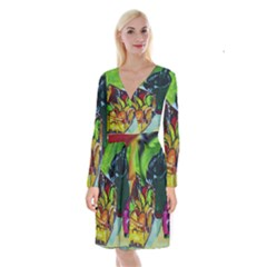 Still Life With A Pigy Bank Long Sleeve Velvet Front Wrap Dress