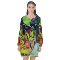 Still Life With A Pigy Bank Long Sleeve Chiffon Shift Dress