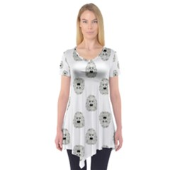 Angry Theater Mask Pattern Short Sleeve Tunic