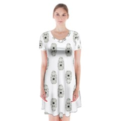 Angry Theater Mask Pattern Short Sleeve V Neck Flare Dress