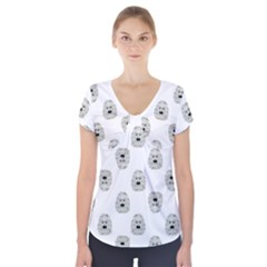 Angry Theater Mask Pattern Short Sleeve Front Detail Top