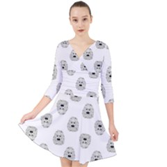 Angry Theater Mask Pattern Quarter Sleeve Front Wrap Dress