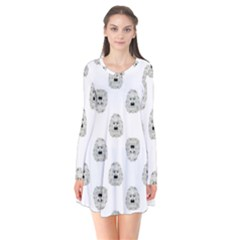 Angry Theater Mask Pattern Flare Dress