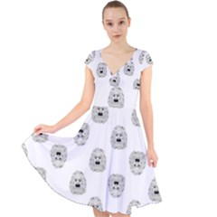 Angry Theater Mask Pattern Cap Sleeve Front Wrap Midi Dress