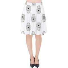 Angry Theater Mask Pattern Velvet High Waist Skirt