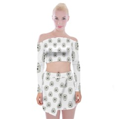 Angry Theater Mask Pattern Off Shoulder Top With Mini Skirt Set