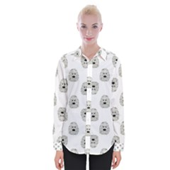 Angry Theater Mask Pattern Womens Long Sleeve Shirt