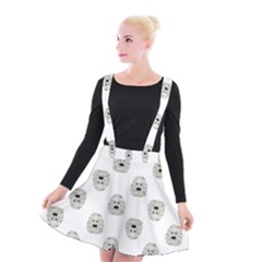 Angry Theater Mask Pattern Suspender Skater Skirt
