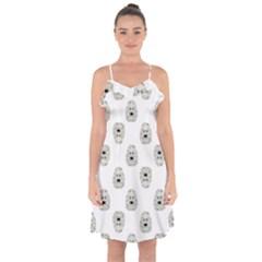 Angry Theater Mask Pattern Ruffle Detail Chiffon Dress
