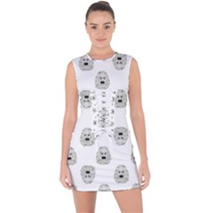 Angry Theater Mask Pattern Lace Up Front Bodycon Dress