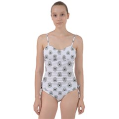 Angry Theater Mask Pattern Sweetheart Tankini Set