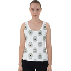 Angry Theater Mask Pattern Velvet Tank Top