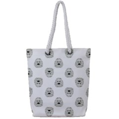 Angry Theater Mask Pattern Full Print Rope Handle Tote (small)