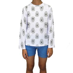 Angry Theater Mask Pattern Kids  Long Sleeve Swimwear