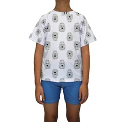 Angry Theater Mask Pattern Kids  Short Sleeve Swimwear