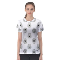 Angry Theater Mask Pattern Women s Sport Mesh Tee