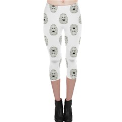 Angry Theater Mask Pattern Capri Leggings