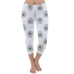 Angry Theater Mask Pattern Capri Winter Leggings