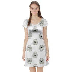 Angry Theater Mask Pattern Short Sleeve Skater Dress