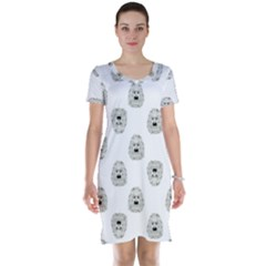 Angry Theater Mask Pattern Short Sleeve Nightdress