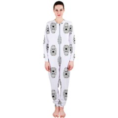 Angry Theater Mask Pattern Onepiece Jumpsuit (ladies)