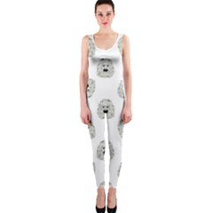 Angry Theater Mask Pattern One Piece Catsuit
