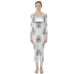 Angry Theater Mask Pattern Long Sleeve Catsuit