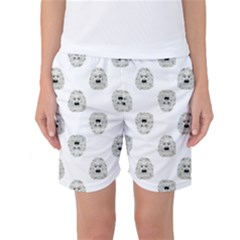 Angry Theater Mask Pattern Women s Basketball Shorts