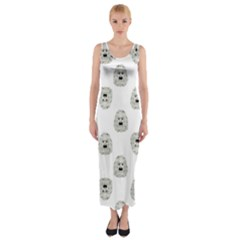 Angry Theater Mask Pattern Fitted Maxi Dress