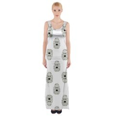 Angry Theater Mask Pattern Maxi Thigh Split Dress