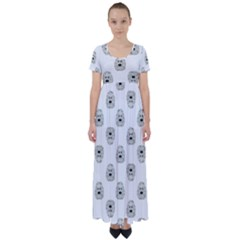 Angry Theater Mask Pattern High Waist Short Sleeve Maxi Dress