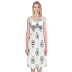Angry Theater Mask Pattern Midi Sleeveless Dress