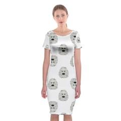 Angry Theater Mask Pattern Classic Short Sleeve Midi Dress