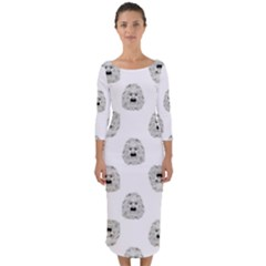 Angry Theater Mask Pattern Quarter Sleeve Midi Bodycon Dress