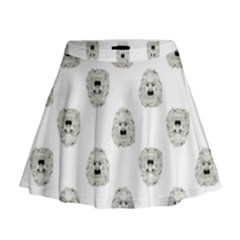 Angry Theater Mask Pattern Mini Flare Skirt
