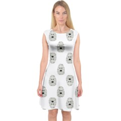 Angry Theater Mask Pattern Capsleeve Midi Dress