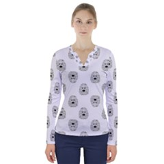 Angry Theater Mask Pattern V Neck Long Sleeve Top
