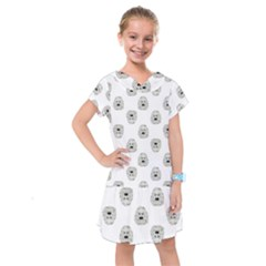 Angry Theater Mask Pattern Kids  Drop Waist Dress