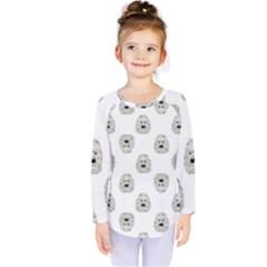 Angry Theater Mask Pattern Kids  Long Sleeve Tee