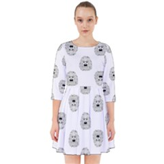 Angry Theater Mask Pattern Smock Dress