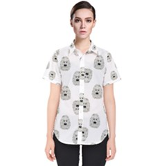 Angry Theater Mask Pattern Women s Short Sleeve Shirt