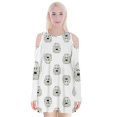Angry Theater Mask Pattern Velvet Long Sleeve Shoulder Cutout Dress