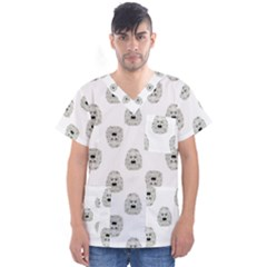 Angry Theater Mask Pattern Men s V Neck Scrub Top