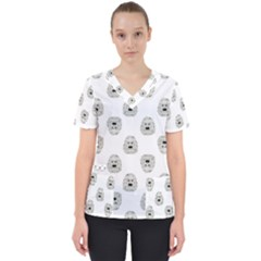 Angry Theater Mask Pattern Scrub Top