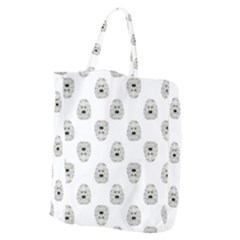 Angry Theater Mask Pattern Giant Grocery Zipper Tote