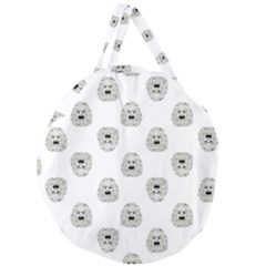 Angry Theater Mask Pattern Giant Round Zipper Tote