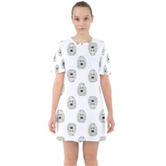 Angry Theater Mask Pattern Sixties Short Sleeve Mini Dress