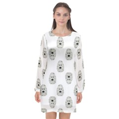 Angry Theater Mask Pattern Long Sleeve Chiffon Shift Dress